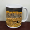 Fall Aspen Grove and Colorado Cabin Photo Ceramic Mug, Fine art mug, coffee mug, tea mug, 11 oz and 15 oz, telluride, trees, nature