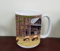 "Elk Bulls  in Front of Arkansas Cabin ""Fine Art Photo"" Mug by Koral Martin"