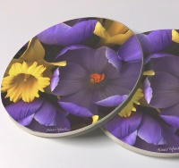 Crocus Daffodil Photo Sandstone Car Coasters, Sold as a pair, FloralArt