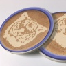 Tiger Latte Art Photo Sandstone Car Coasters, Sold as a pair, Mascot Art