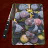 Grape Cluster Tempered Glass Cutting Board 8x11 and 12x15 | Decorative Counter Protector | Cheese Board