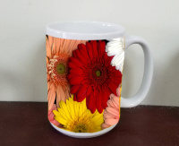 Gerber Daisy Mug, Gerbera  Floral Photo Ceramic Mug, Coffee Mug