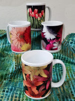 Floral Coffee Mugs Set of 4 including Gerber Daisies, Tulips, and Tiger Lilies Fine Art Photo Mug