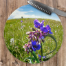 Spiderwort Wildflower CloseUp Round Glass Cutting Board, Decorative Cheese Board, Counter Protector