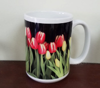 Red Yellow and White Tulips Photo Coffee Mug