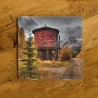 Colorado Trout Lake Train Water Tank Photo Ceramic Coaster