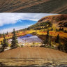 Blue Lakes Trail Curved Metal  Desktop Pano Print