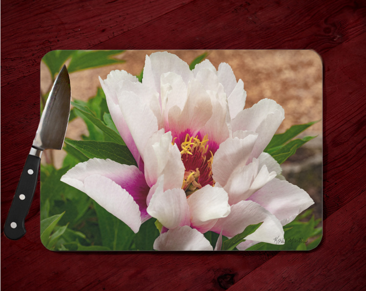 White and Pink Peony Tempered Glass Cutting Board 8x11 and 12x15  Close-Up