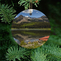 Colorado Ornament of Lost Lakes Kebler Pass Round Ceramic Ornament With Photo by Koral Martin