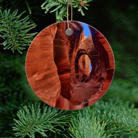 Slot Canyon Ceramic or Wood Ornament of Peek-A-Boo Canyon With Photo by Koral Martin