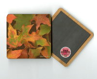 "Fall Maple Leaves  Photo 4""x4"" Wood  Coaster Magnet on Back"