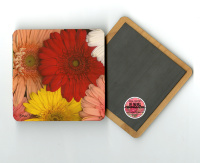 "Gerber Daisies Photo 4""x4"" Wood  Coaster with Magnet on Back, Refrigerator Magnet"