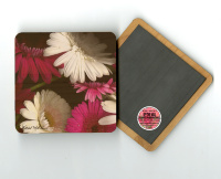 "Magenta  Pink White Gerber Daisies Photo 4""x4"" Wood  Coaster with Magnet on Back, Gerbera, Daisy, drink coaster,  refridgerator magnet, Fine Art"