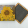 "Yellow Sunflower Field Photo 4""x4"" Wood  Coaster with Magnet on Back"