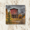 Trout Lake Train Water Tank Colorado Tumbled Stone Coaster | Colorado Drink Coaster | Stone Tile