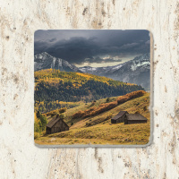 Old School House in Colorado Tumbled Stone Coaster | Colorado Coaster | Colorado Home Decor