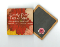 Red  Gerber Daisies Save The Date Wood Magnet, Coaster, Invitation, Gift, Favor