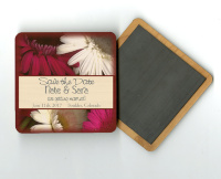 Gerber Daisies Save The Date Wood Magnet, Invitation, Wedding Gift, favor