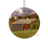 Kentucky Horse Farm Ornament, Ceramic and Wood with Horse Barn and 1 horse 6332 V1