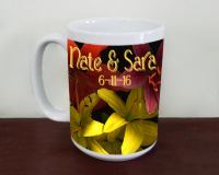 Custom Tiger Lilies Wedding  Photo Ceramic Mug, Floral Mug, Favor, Gift, 11oz and 15oz, Fine Art