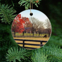 Kentucky Horse Farm Ornament, Ceramic and Wood with Fall Trees and Horse 6263