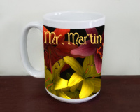 Mr and Mrs Custom Tiger Lilies Wedding  Photo Ceramic  Coffee Mug, Floral Mug, Favor, Gift,  Tea Mug, 11oz and 15oz,  Fine Art, lily flowers