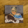 Old Coffee Box and Coffee Beans Ceramic Drink Coaster