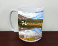 Mr and Mrs Rainbow Lake  Wedding  Photo Ceramic  Coffee Mug,  Mug, Favor, Gift,  Tea Mug, 11oz and 15oz,  Fine Art, Colorado