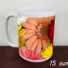 Mr and Mrs Gerber Daisy Wedding  Photo Ceramic  Coffee Mug, Floral Mug, Favor, Gift,  Tea Mug, 11oz and 15oz,  Fine Art, daisies