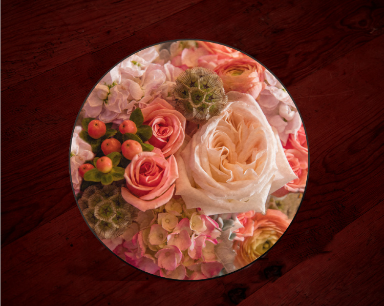 "Peach Bridal Bouquet Centerpiece, Cutting Board,Wedding Tempered Glass 8"" and 12"""