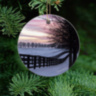 Kentucky Horse Farm Winter Sunset Ornament, Ceramic and Wood with Fence View 9330