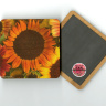 "Colorful Sunflower Variety Photo  4""x4"" Wood Coaster with magnet on back by Koral Martin"