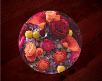 "Colorful Bridal Bouquet Centerpiece, Customizable. 8 and 12"", Cutting Board, Wedding Tempered Glass"