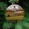 Kentucky Horse Farm Ornament, Ceramic and Wood with Horse Barn and 2 horses 6332 V2