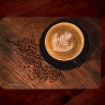 Latte Art Coffee Glass Cutting Board with Black Cup 8x11 and 12x15 | Coffee Kitchen Decor