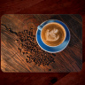 Latte Art Coffee Glass Cutting Board with Blue Cup 8x11 and 12x15 | Coffee Kitchen Decor