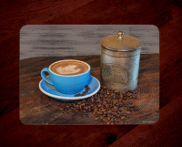 Antique Coffee Tin and  Latte Art Glass Cutting Board with Blue cup 8x11 and 12x15 | Coffee Kitchen Decor