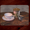 Coffee Photo Tempered Glass Cutting Board with Pink and White cup 8x11 and 12x15