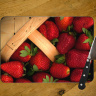 Strawberries in a Basket Photo on Tempered Glass Cutting Board 8x11 and 12x15