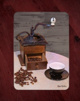 Antique Coffee Grinder Glass Cutting Board with Black Cup 8x11 and 12x15 | Coffee Kitchen Decor