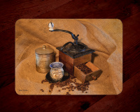 Coffee Photo Tempered Glass Cutting Board with Grinder on Burlap 8x11 and 12x15