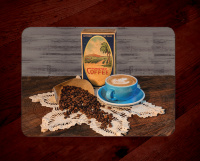 Coffee Photo Tempered Glass Cutting Board with Old Coffee Box