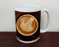 Coffee Themed Latte Art Photo Ceramic Mug with Black Cup