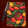 Variety of Peppers Photo Tempered Glass Cutting Board 8x11 and 12x15