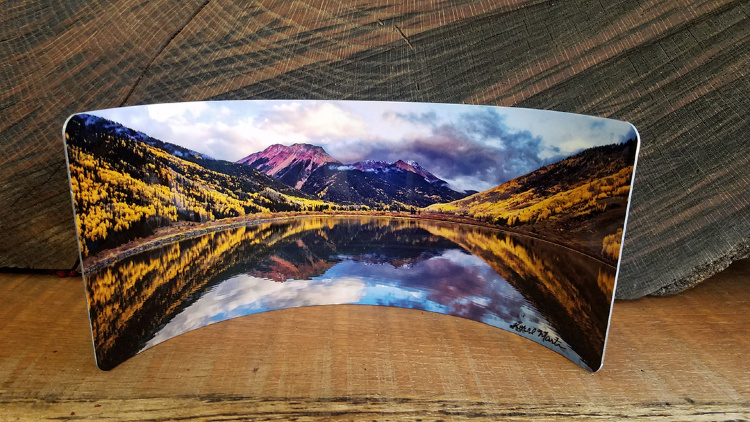 Crystal Lake Colorado Curved Metal  Desktop Pano Print