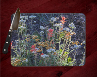 Bryce Canyon Wildflowers Glass Cutting Board 8x11 and 12x15 | Wildflower Art | Utah Decor