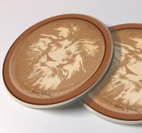 Lion Latte Art Photo Sandstone Car Coasters, Sold as a pair, Coffee Art