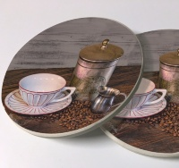 Old Coffee Tin and Cup Sandstone Car Coasters, Sold as a pair, Coffee Art