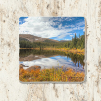 Rainbow Lake Mountain Reflection Tumbled Stone Drink Coaster