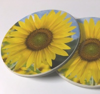 Sunflower Photo Sandstone Car Coasters, Sold as a pair, Sunflower Art, Floral Art